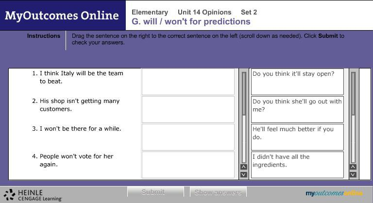 G: Grammar Interactive grammar activities provide context and help you to