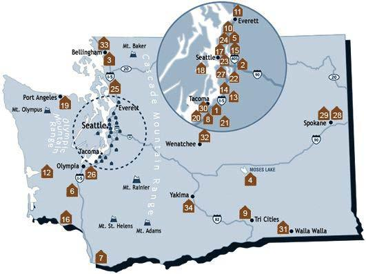 Map of WA Community Colleges and Law Schools* Washington community college ABA approved paralegal program offering LLLT education Paralegal program seeking ABA approval Washington