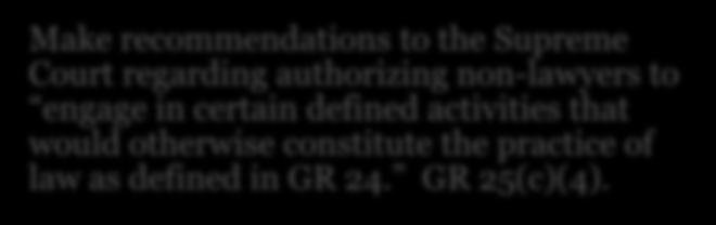 GR 25 (2001) Investigate allegations of the unauthorized practice of law Established the Practice of Law Board (POLB) and its powers, including to: Issue advisory opinions about authority of