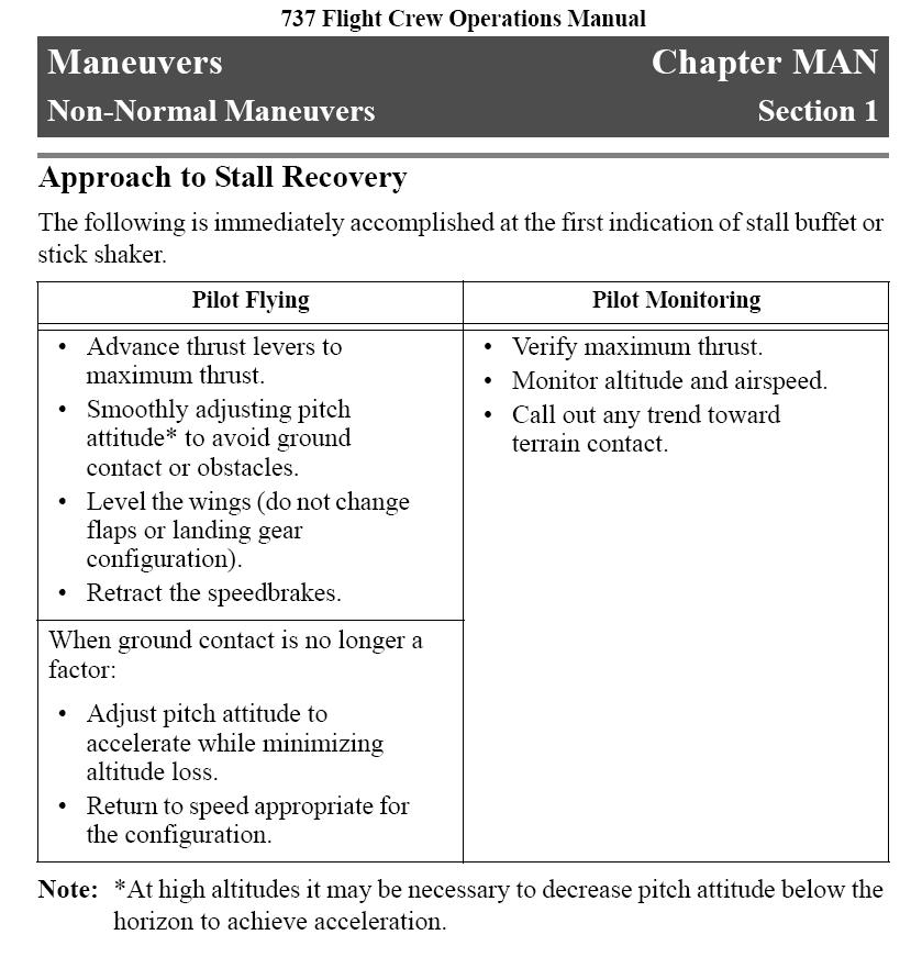 Figure 1: Approach to stall recovery in the Flight Crew Operating Manual (FCOM) The computer displays the specific procedure for practicing a recovery from a departure stall in the simulator (see