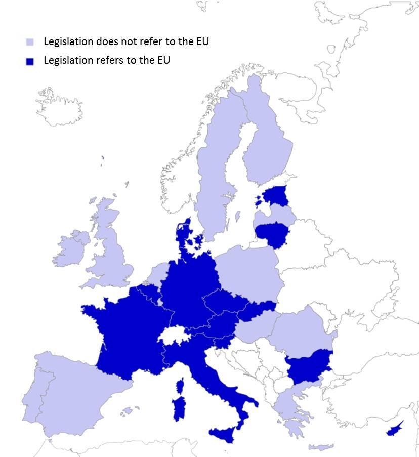 Figure 2.1 Countries that mention learning about the EU in their education legislation 2.