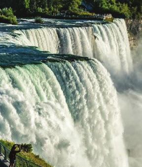 The water falls at 32 feet per second over the Falls, hitting the base of the Falls with 280 tons of force at the American and Bridal Veil Falls and 2,509 tons of force at the Horseshoe Falls.
