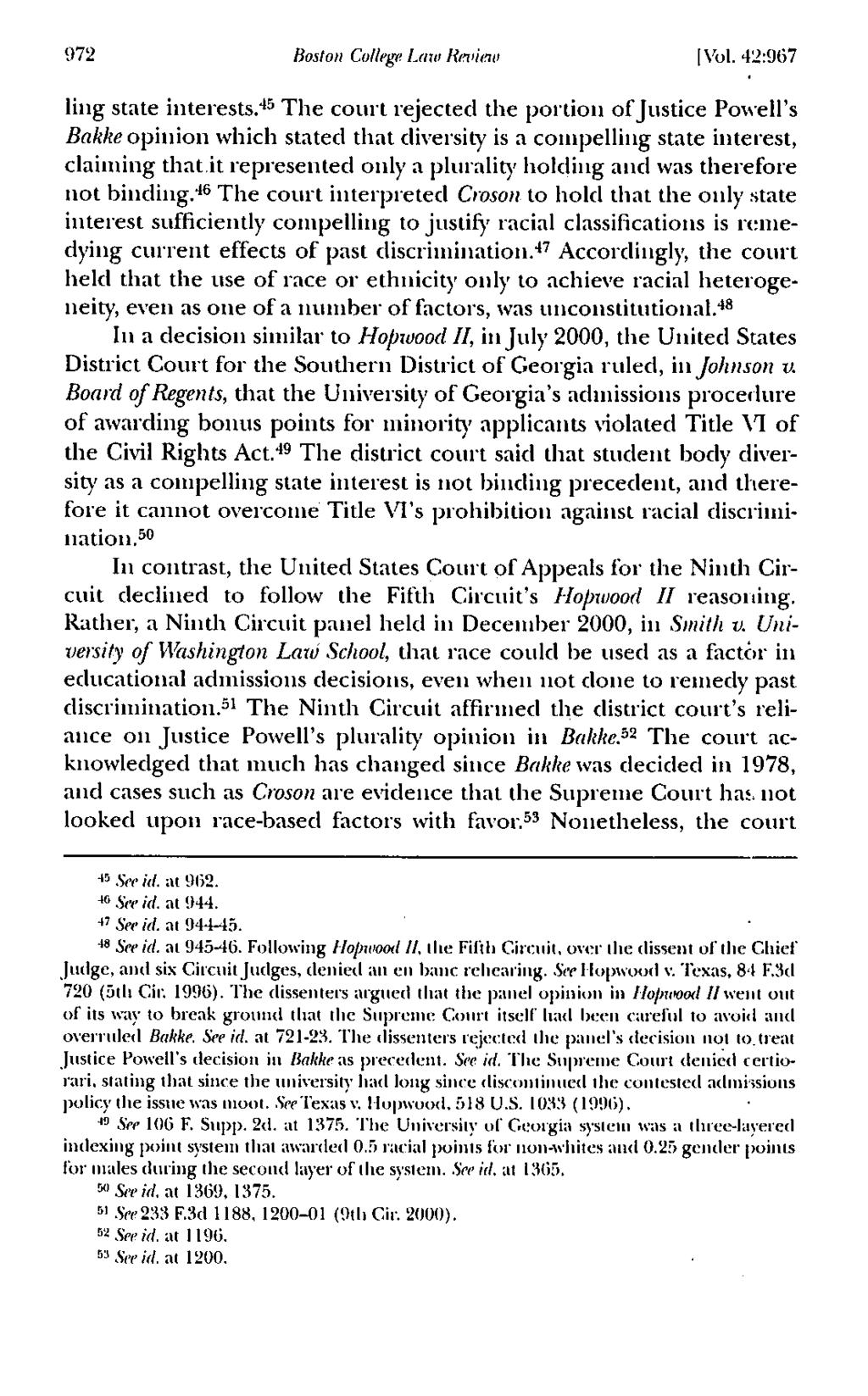 972 Boston College Law Review I Vol. 42:967 ling state interests.
