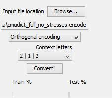Figure 2: Detail of the encoding tool 3.1.1 Database pre-processing Because the words-to-phonemes mapping of the CMU dictionary is not aligned (e.g., it does not show which letter maps to which phoneme), some pre-processing of the dictionary was necessary.