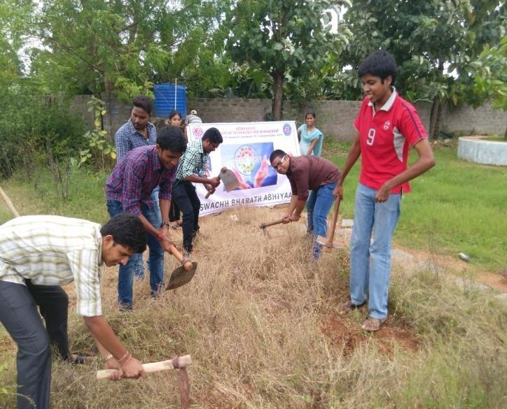 About 100 NSS volunteers and students took part in this activity and cleaning the college surroundings, removed bushes, collected waste materials and thrown outside.