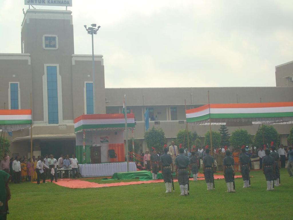 INDEPENDENCE DAY PARADE AT JNTUK - 15.08.2015 NSS volunteers of our college participated in Independence day parade conducted at JNTUK, Kakinada on 15.08.2015.Prof.V.S.S.Kumar hoisted the National flag as chief guest.