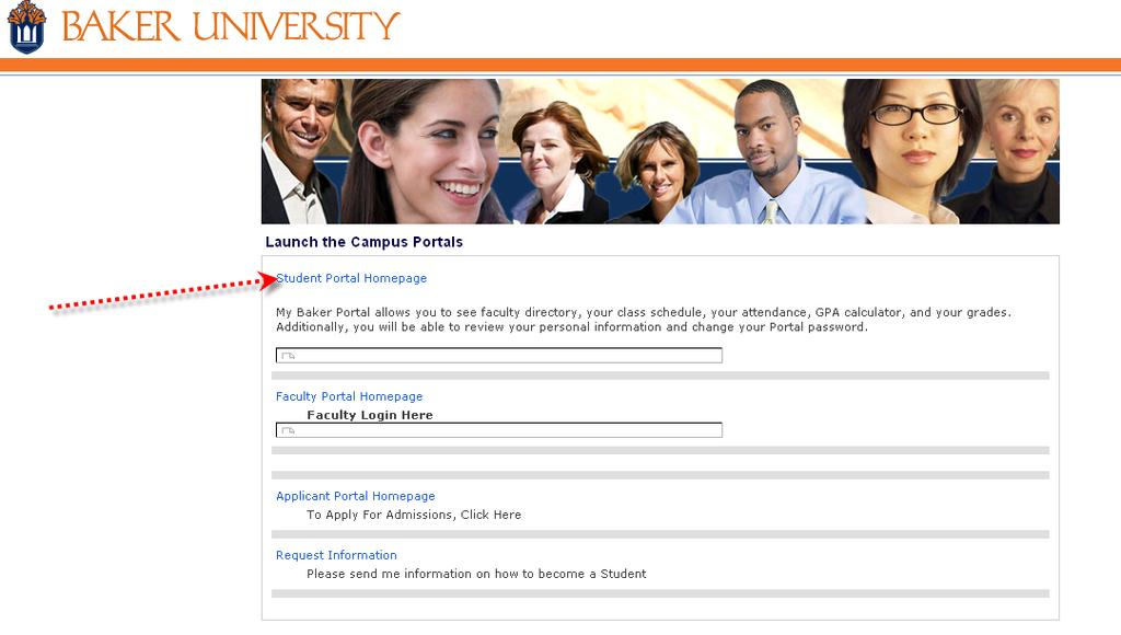 Click on Student Portal Homepage.