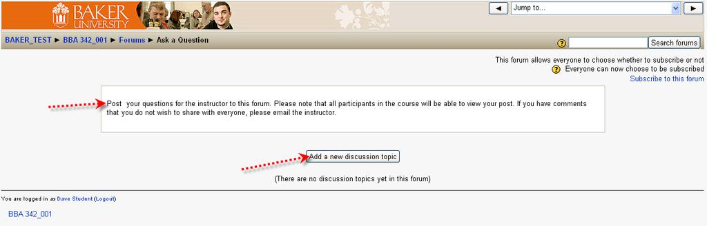 Click on Add a new discussion topic button.