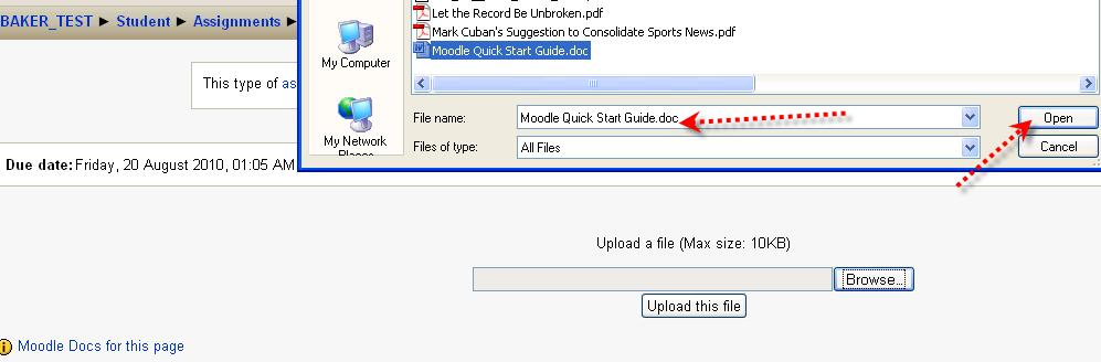 Once the file path is listed in the Browse field, click the Upload this File button.
