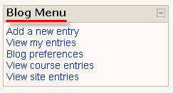 G. Click on Add a new entry to begin a new, separate blog post. Instructors have the option to add a Blog Menu or Blog Tags block to any Moodle course.