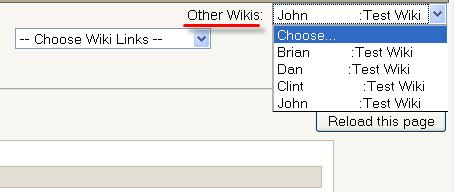 E. Other Wikis: Depending on the Type and Group mode settings, this drop down menu will allow you to navigate to other wikis.