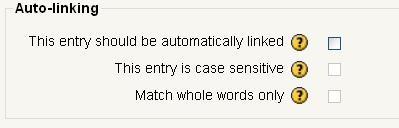 Click on the box behind This entry should be automatically linked, which means that whenever the concept s words and/or phrases appear throughout the rest of the same course users are able to link