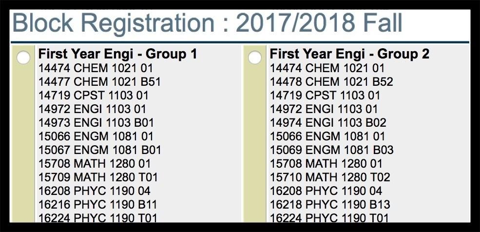 ENGINEERING REGISTRATION (continued) Step 4: Register for Your Fall Block i. Scroll down until you see the set of blocks labeled: FIRST YEAR ENGI - GROUP #, where ## = 01, 02, etc. ii.