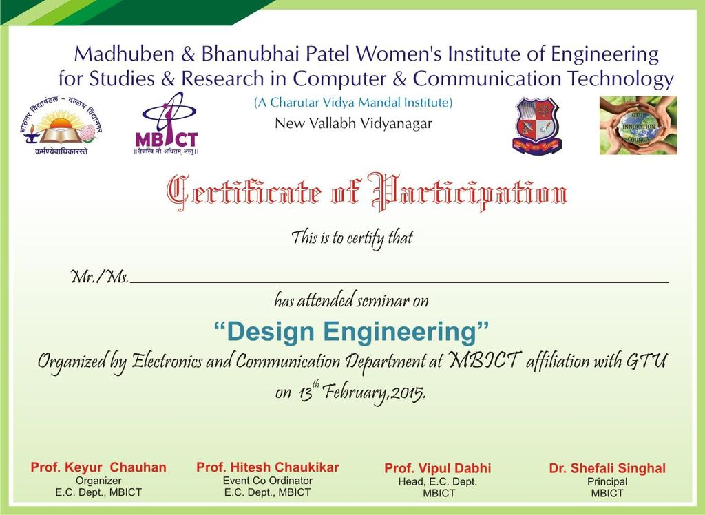 CERTIFICATE All the faculties were