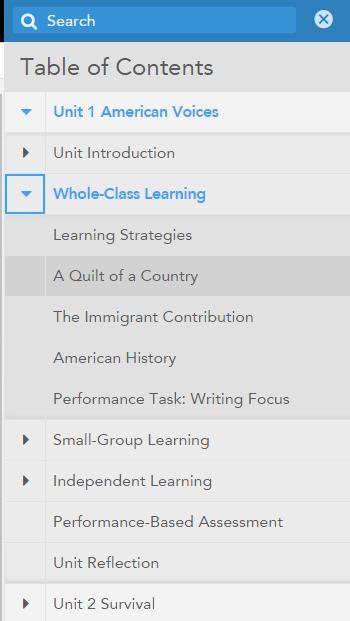 IMPORTANT: To view the entire grade-level Student Edition, click the Menu in the upper right