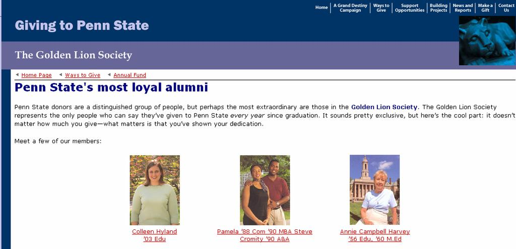 PEER EXAMPLES Penn State Golden Lion Society Every