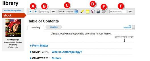 Go to a specific page by entering a page number. C. Navigate the entire book contents with the drop-down menu. D.