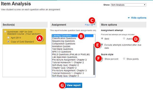 Section 9: Reports Running and Exporting Connect Reports - Continued Creating Item Analysis Reports The Item Analysis report provides statistics on each question within a single assignment. A. Select the Performance tab.