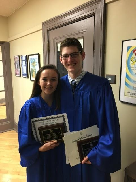 Two of our graduates, Meghan and Jack, were recipients of the prestigious Spirit of St. John Paul II Awards!