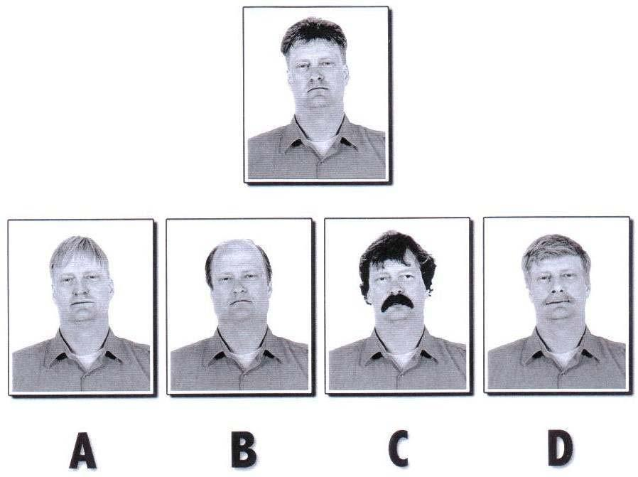3) Which of the four pictures (A, B, C, or D) is the original person (top picture) in disguise?