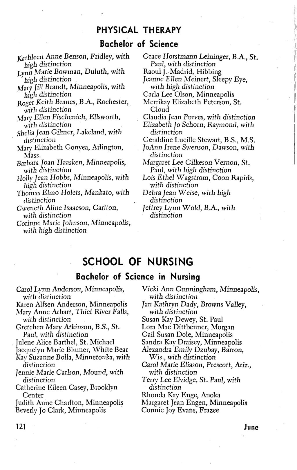 Kathleen Anne Benson, Fridley, with high distinction Lynn Ma.ri~ Bo~man, Duluth, with high dlstmctjon. Mary Jill Brandt,, with high distinction Roger Keith Branes, B.A., Rochester, Mary Ellen Fischenich, Ellsworth, Shelia Jean Gilmer, Lakeland, with distinction Mary Elizabeth Gonyea, Arlington, Mass.