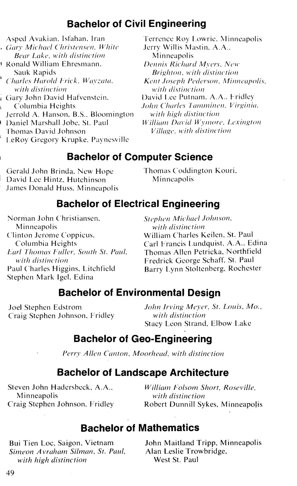 Bachelor of Civil Engineering '\sped Avakian, Isfahan, Iran (iary Michael Chri.