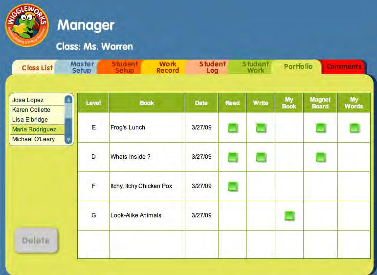 Portfolio The Portfolio section of the WiggleWorks Manager allows teachers to save information that reflects each student s creativity, challenges, and development over a period of time.