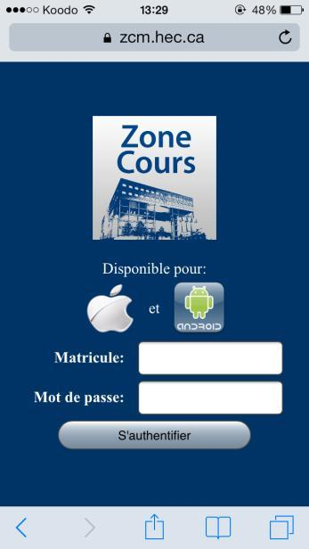 Zone Cours Mobile Application Course Registration