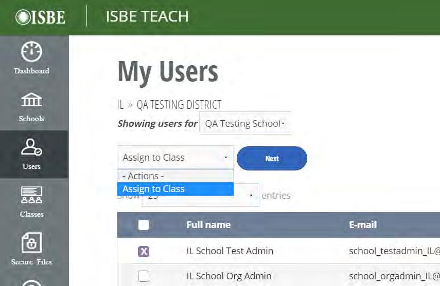 On your ISBE Teach dashboard, click the number of users in the User tile. 2.