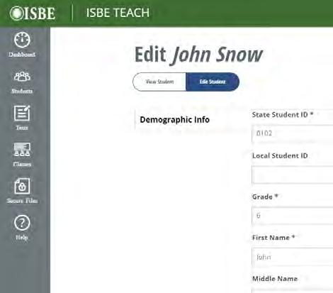 Select the State Identifier of the Student you want to edit The Student Profile page opens. 3. Click Edit Student to make the profile editable. 4.