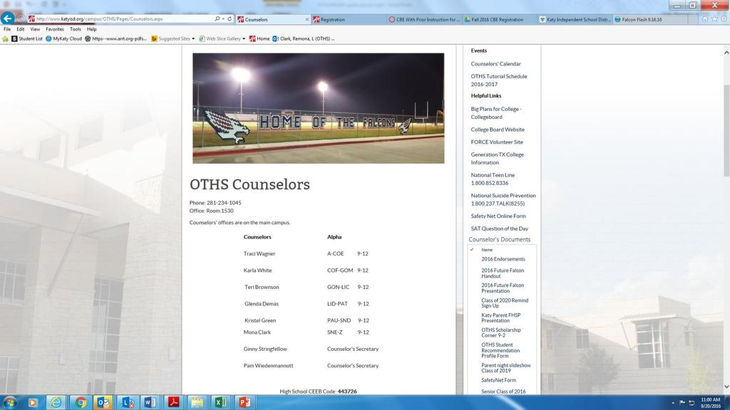 OTHS COUNSELING DEPT WEBPAGE HTTP://WWW.