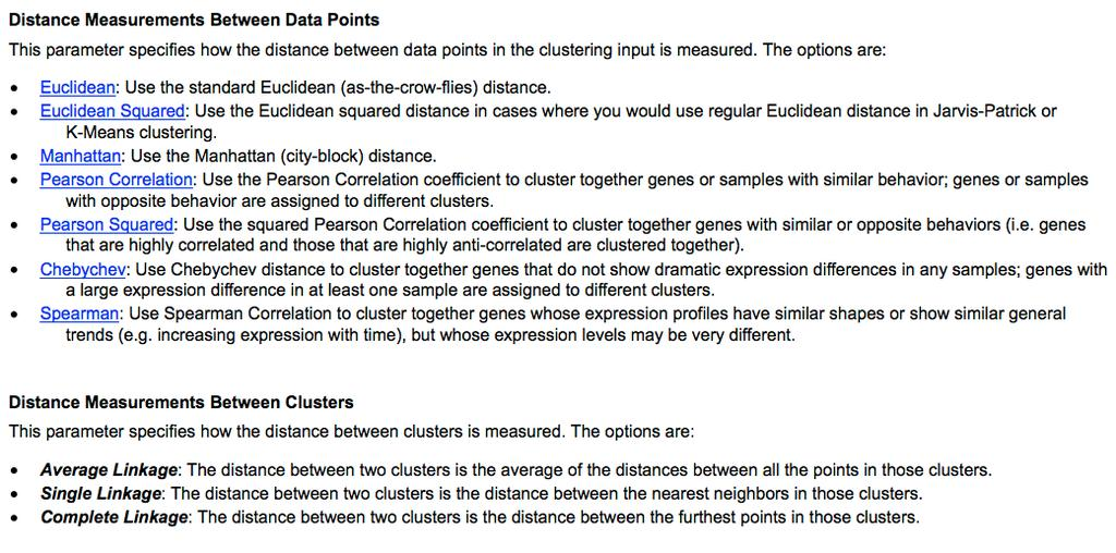 Overview of distance metrics Source: http://www.improvedoutcomes.