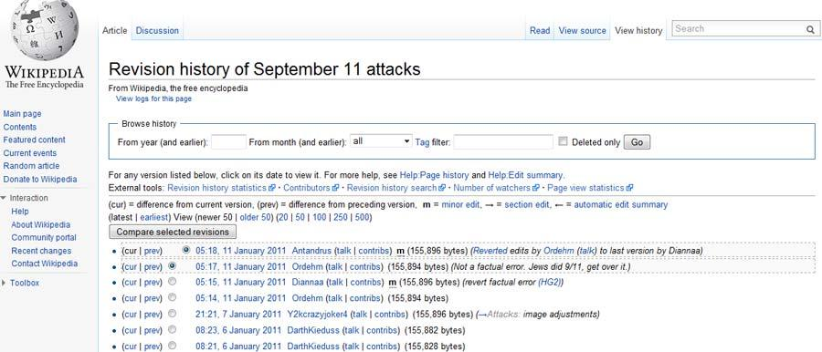 Michela Ferron and Paolo Massa 7 Figure 3. Screenshot of the revision history page associate to the article on September 11 attacks.