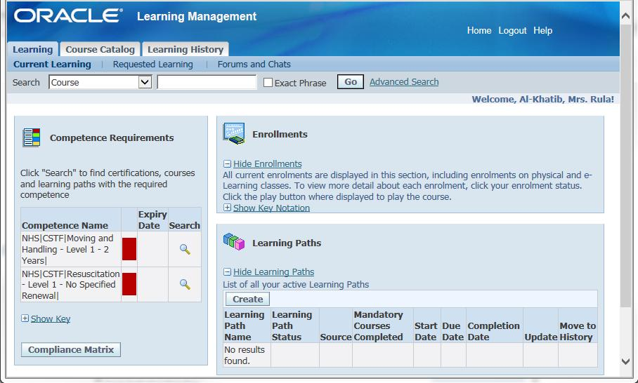 The Elearning Platform 1. From the ESR main screen, select e-learning. A new window Learning Management will open.