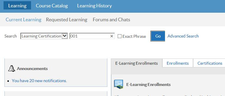 to Learning Certification and enter 001 in the search bar, and