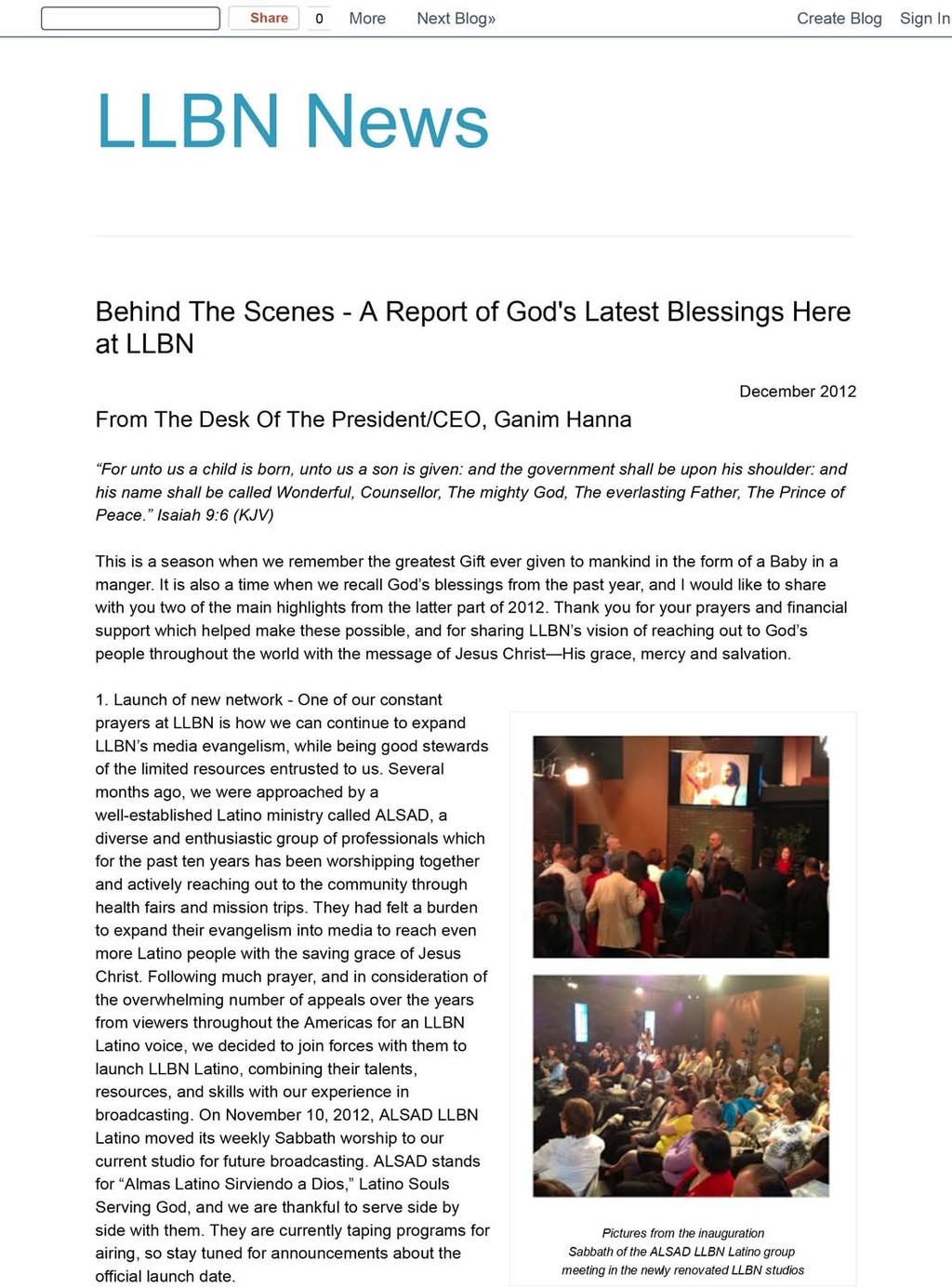 LLBN News: Behind The Scenes - A Report of God's Latest Blessings H.