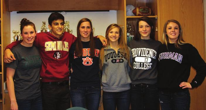 Sports Accomplishments (L-R) PRHS senior athletes Allison Murslack, Dominic Giordano, Kristen Murslack, Tess Drotar, Abigail Dix and Taylor Thene signed official Letters of Intent to Division I