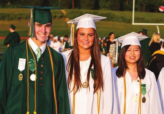 Academic Accomplishments Left: (L-R) PRHS Valedictorian Marcus Colella, Salutatorian Chloe DiPasquale and Tertiary Marissa Di prepare to accept their diplomas during graduation exercises on Friday,