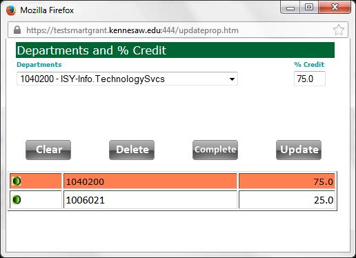 4. To edit, click the green edit button to the left of the Department in the list (see Figure 16). Figure 16 - Dept/% Credit Look-Up 5. Enter the correct % Credit. 6. Click the Update button. 7.