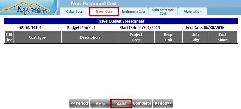 b. Use any tabs that apply to your proposal. 3. For example, click the Travel tab to enter estimated travel costs (see Figure 42).