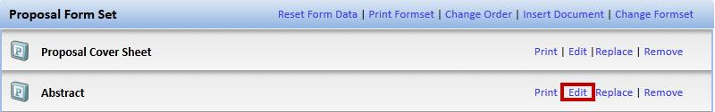 5. To edit any of the forms, follow the steps below. a. Next to the form you wish to edit, e.g. the Abstract, click the Edit link (see Figure 54).