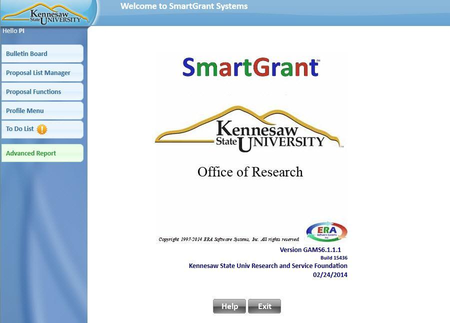 Figure 3 - Selecting an institution You are now logged into KSU SmartGrants.
