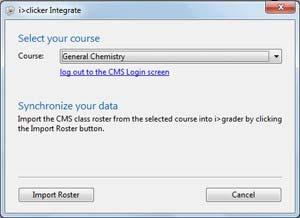 5. Once logged in, you will be prompted to select your course. Using the drop-down control, select the course or section for which you wish to import your LMS roster and click Import Roster.