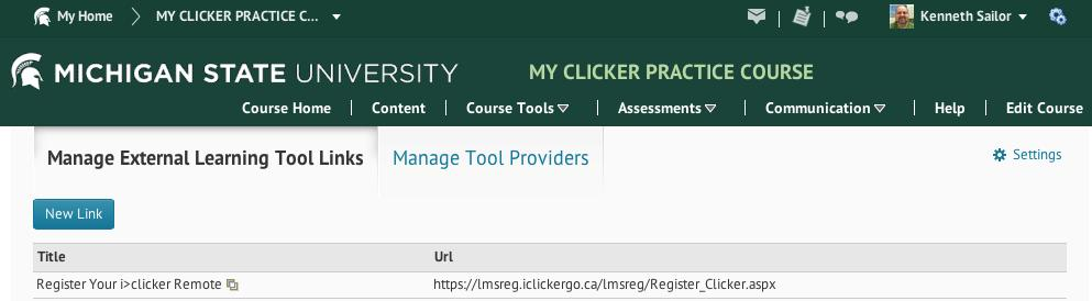 5. On the External Learning Tools page, click External Learning Tool Links, then the New Link button. 6.