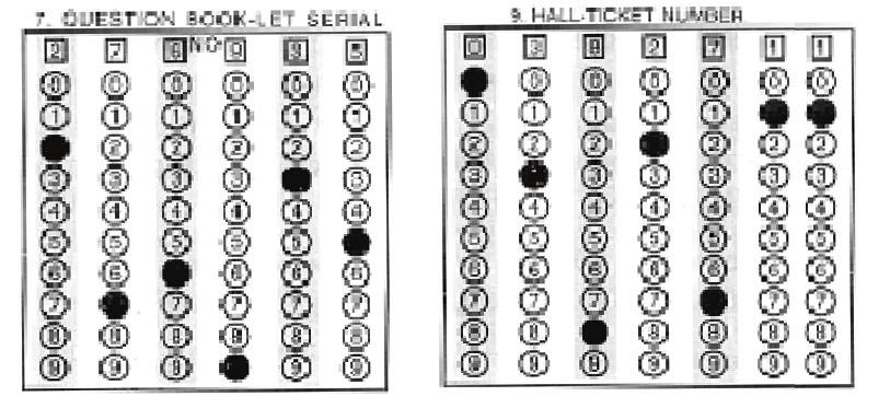 Enter your hall ticket number and darken the corresponding circle below each digit of your hall ticket number.