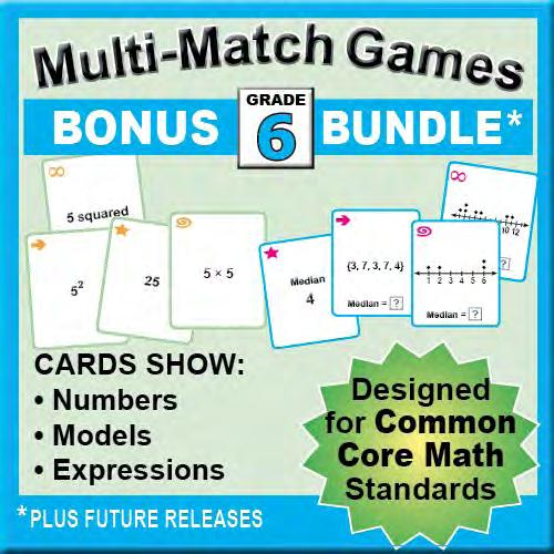 5 How can you USE GAMES games to help students meet the goals? OVERVIEW Multi-Match Math Games BUNDLE This bundle includes 1 card sets aligned to key Grade goals.