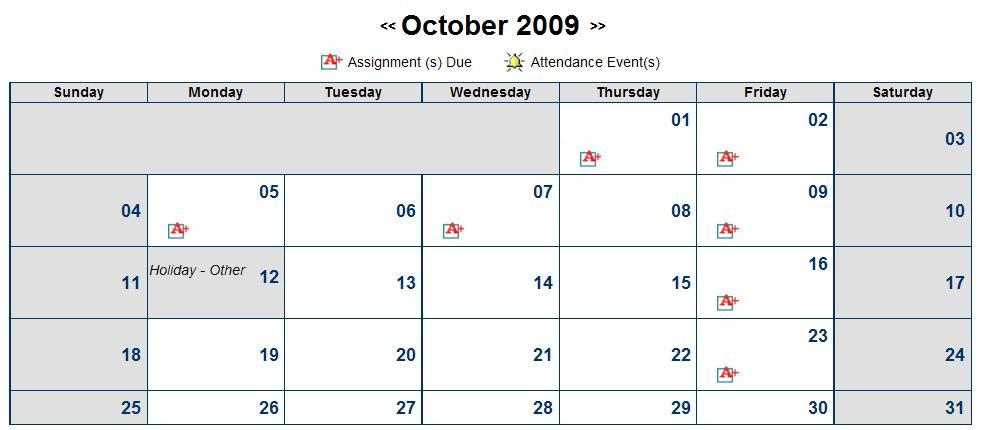 Calendar: The Calendar link provides quick access to assignment due dates, and attendance events.