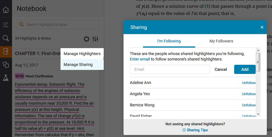 to content in book Share and Collaborate: Share notes & highlights; Follow