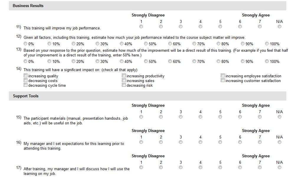 Appendix D: Survey Experience in Metrics that Matter Metrics That Matter supports multiple user experiences for survey collection in order to provide ease of submission, gather timely feedback,