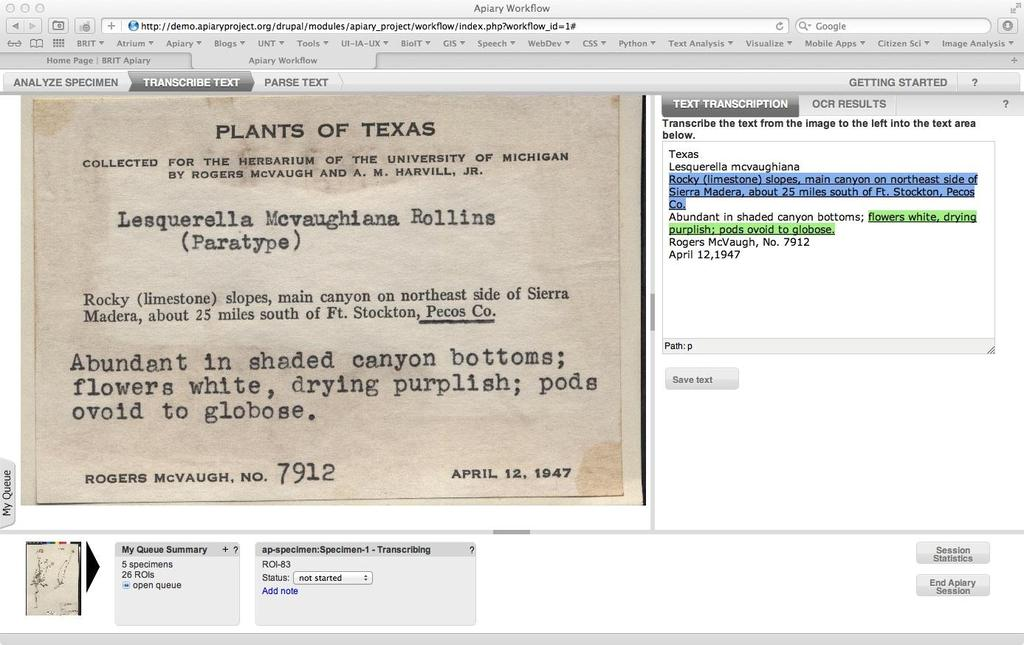 Herbarium digitization workshop pdf transcription or ocr apiary project apiaryproject fandeluxe Image collections